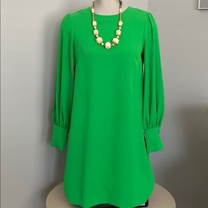 Kelly green H&M mini dress with long sleeves